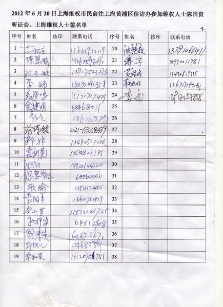 市民签名声援陈国贵(维权市民提供)