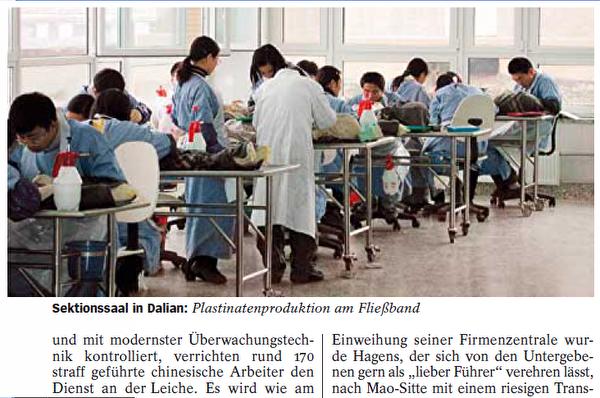 哈根斯的大连塑化工厂的170多个中国工人在生产流水线上忙着加工尸体。