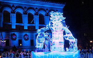 波士頓第一夜冰雕 展示新年新希望