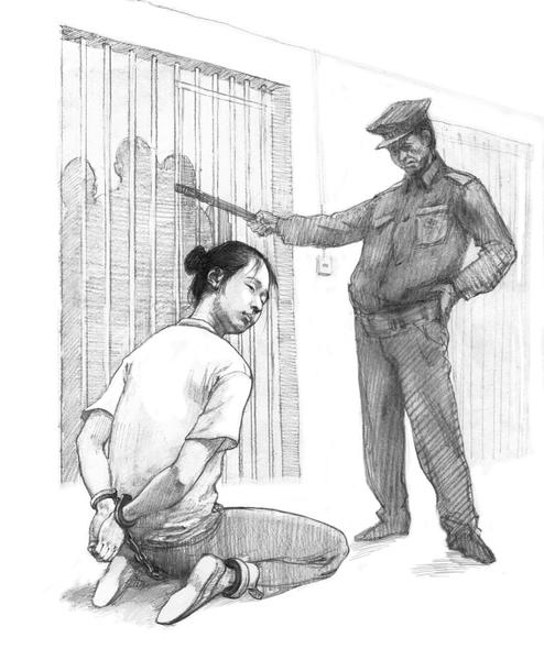 """中共酷刑:""""后穿刺"""",将人双手背铐、双膝下跪、双脚戴脚镣,同时将手铐、脚镣用铁丝最短距离串起来(大纪元资料图片)"""