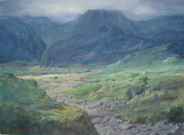 陈品华《都兰关》76×56cm 1990。(图:中华亚太水彩艺术协会提供)