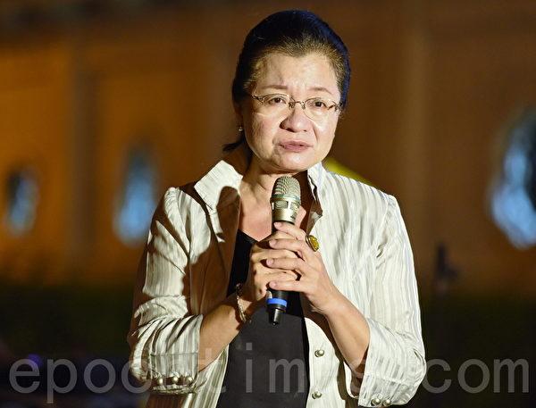 立委田秋瑾在現場聲援香港。(孫湘詒/大紀元)