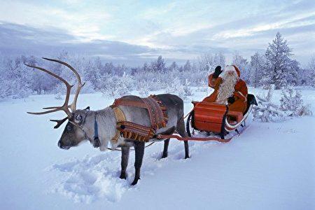 圣诞老人驾着驯鹿雪橇来了(MARTTI KAINULAINEN/AFP)