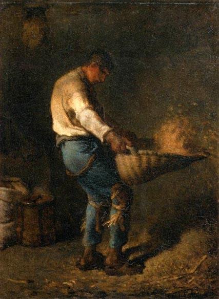 [法]让-弗朗索瓦‧米勒(Jean-François Millet,1814—1875),《筛谷的人》(Le vanneur),1848年作,巴黎奥塞美术馆藏。(维基百科公共领域)