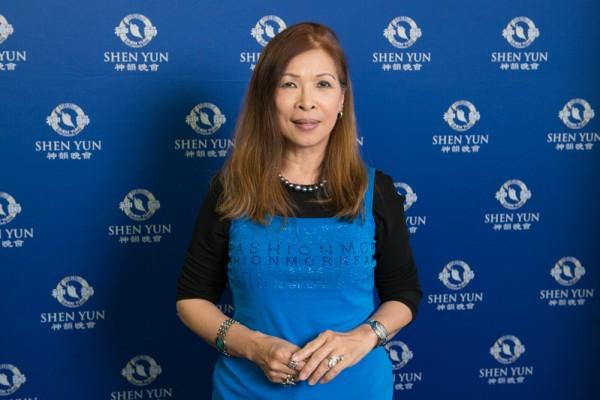 彰化影剧协会荣誉理事长,油画家林惠敏女士。(王仁骏/大纪元)