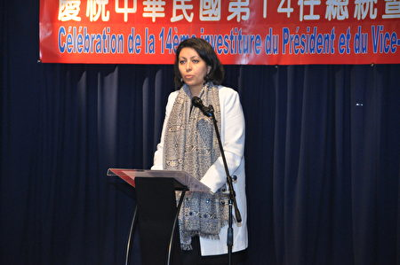 法国参议院友台小组副主席Leila Aichi致词祝贺蔡总统就职(台湾代表处提供)