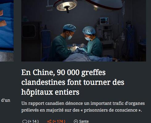 法国大报《费加罗》报导中共活摘器官 震惊读者