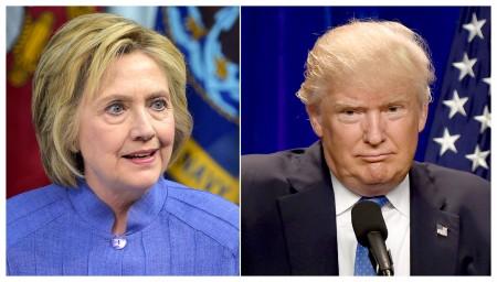 希拉里(左)和川普相互攻击对方软肋。(AFP)