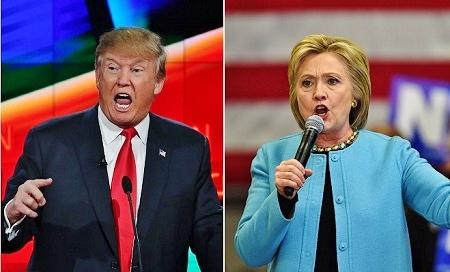 民調:特朗普希拉莉競爭激烈 難分高下