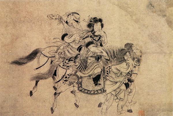 示意圖:金 宮素然《明妃出塞圖卷》(局部),紙本水墨,日本大阪市立美術館藏。(公有領域)