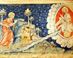 《启示录》第六组挂毯中描述的:一道生命水的河,明亮如水晶,从神的宝座流出来。在河的两边有生命树,生产十二样果子,每月结新果,树上的叶子医治万民。不再有黑夜,因神来做光照。神所救赎的人要做王,直到永永远远。(维基公共领域)