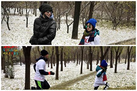 王菲偕李亚鹏和女儿李嫣现身嫣然天使基金10周年奔跑活动。(微博图片/大纪元合成)