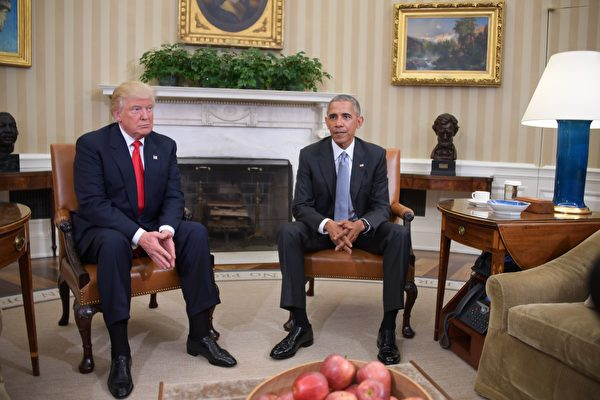 特朗普白宮面會奧巴馬 稱他是「好男人」