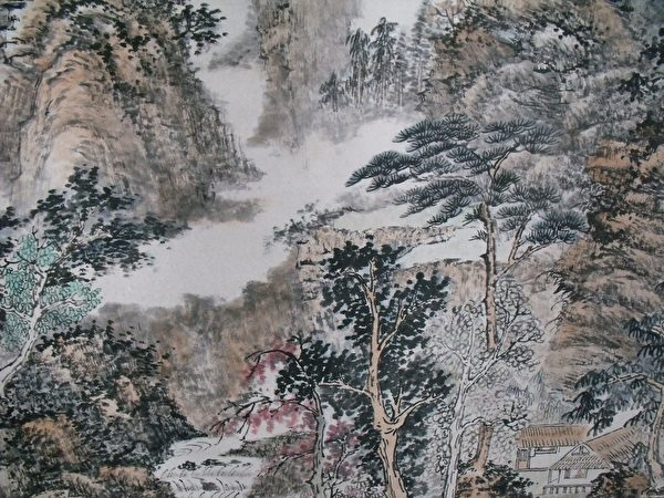 明代 髡残《山水图》 纸本 。(公有领域)