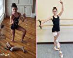 以脚踝为膝盖,从癌症中康复的美国少女再次穿上芭蕾舞鞋,用双脚跳舞。(curesearch.org,The Truth 365/大纪元合成)