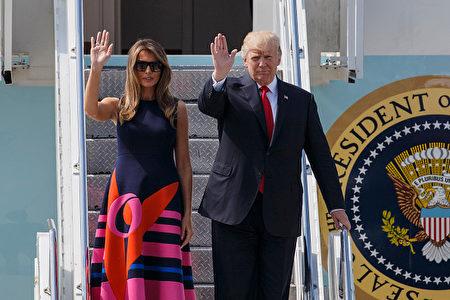 7月6日,美國總統川普攜夫人梅蘭妮•川普(Melania Trump)抵達漢堡。(Morris MacMatzen/Getty Images)