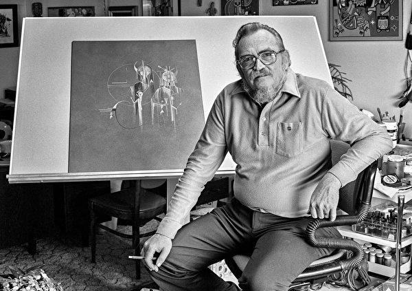 有一半美国土着血统的艺术家大卫·帕拉丁(David Paladin)1982年留影。(Photo by and Courtesy of Charles R. Rushton)