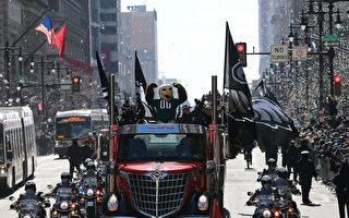 2月8日,費城老鷹隊吉祥物「Swoop」帶領慶祝隊伍開始遊行。(Rich Schultz/Getty Images)
