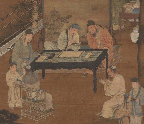 王中丞对那些有理却辩解不清的人,他用自己的才智,帮他们写状子。图为宋人《十八学士图》。(公有领域)