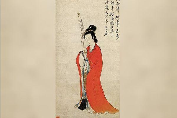 她本是一位侍女,卻能不費一兵一卒,平息了邊境戰亂。圖為清 康濤《持節仕女圖》(局部),紙本設色,浙江省博物館藏。(公有領域)