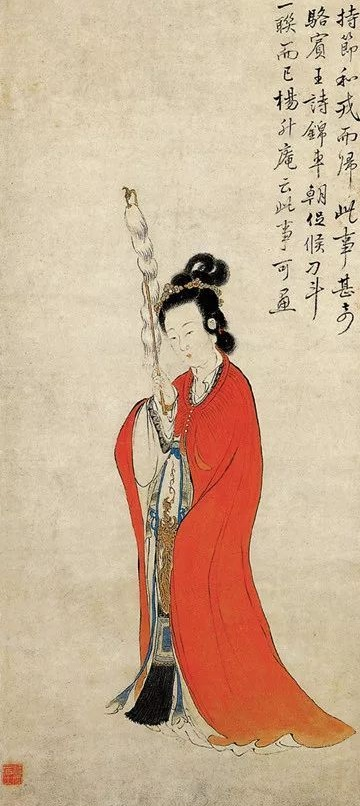清 康濤《持節仕女圖》(局部),紙本設色,浙江省博物館藏。(公有領域)