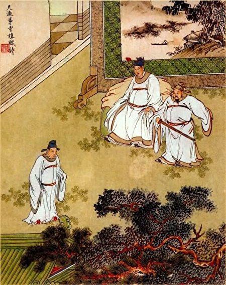 金协中彩绘《三国演义》第七十九回插图,兄逼弟曹植赋诗。(公有领域)