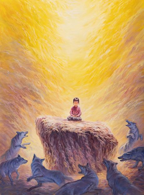 越南畫家Loc Duong創作的《一個不動制萬動》。
