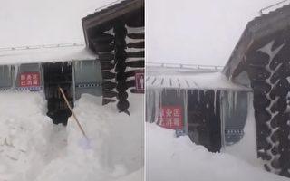 【現場視頻】長白山大雪連下10天 累積2米深