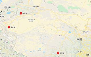 最近兩天,新疆、西藏分別發生2起地震。(谷歌地圖)