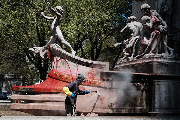 變性者仇警者暴力破壞公共雕塑 六人被捕