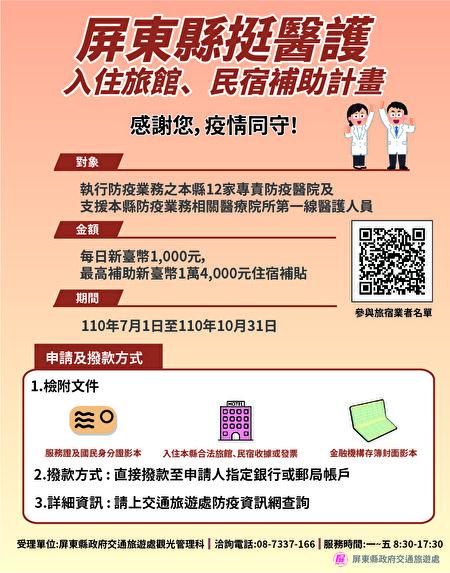 为感谢医护辛劳付出协助防疫,屏东县政府推出医护入住旅宿优惠活动,补助对象再扩大。
